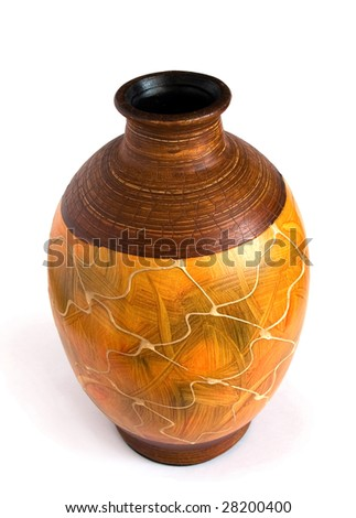 ceramic vase in the old-style isolated on white