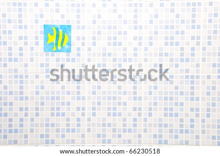 Ceramic Wall with fish sticker - stock photo