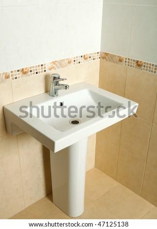 ceramic washing sink - stock photo