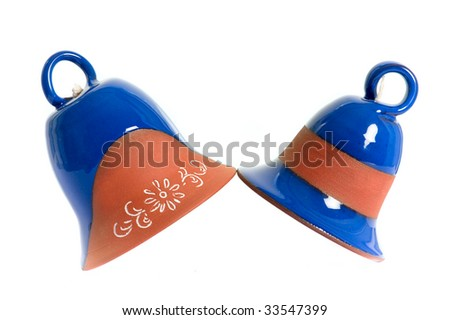 ceramics bell isolated on the white background - stock photo