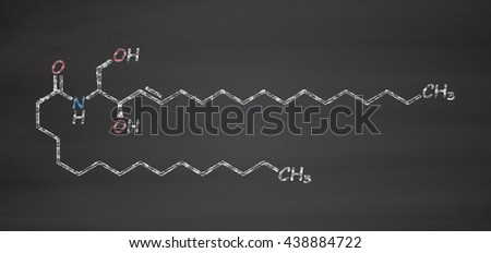 Ceramide cell membrane lipid molecule. Chalk on blackboard style illustration. - stock photo