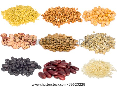Cereal and grain collection isolated on white background. Macro shots - stock photo