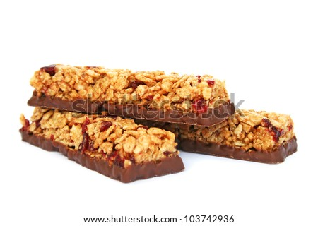 Cereal bars with chocolate isolated on white background.