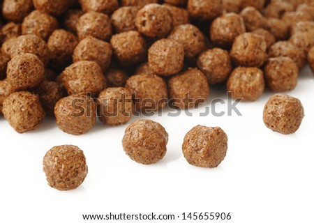 cereal chocolate balls on white background