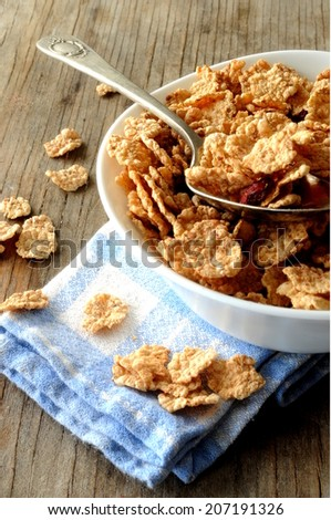 cereal cornflakes for breakfast - stock photo