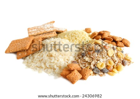 Cereal, cracker, rice, millet, corn flakes and muesli for balance diet on white background - stock photo