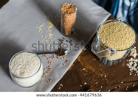 cereal grain glass saddle organic vegetarian oat healthy background diet table breakfast natural wooden healtn spices in a spoon