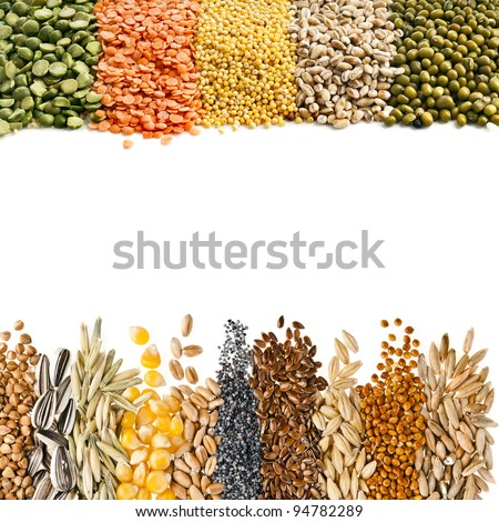 Cereal Grains , Seeds,Beans , border frame close up isolated on white background - stock photo