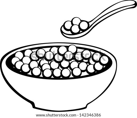 Stock Vector Breakfast Cereal Bowl With Milk And Spoon