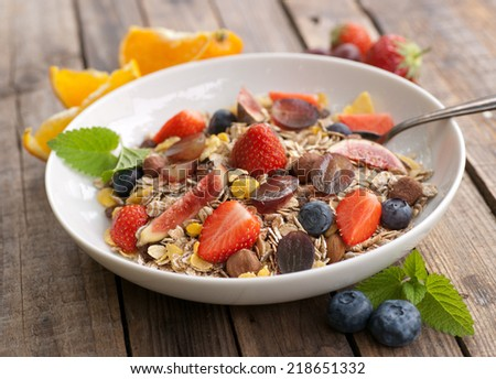 Cereal with fresh fruits - stock photo