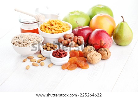 cereals and fruit - diet and breakfast - stock photo