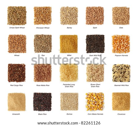 Cereals collection with titles isolated on white background - stock photo