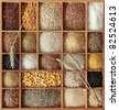 Cereals in wooden box - stock photo