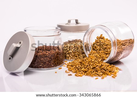Cereals: Red rice, Spelt and Kamut - stock photo