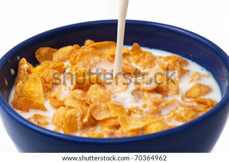 cereals with milk - stock photo