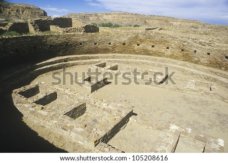 Ceremonial Kiva at Chaco Canyon Indian ruins, NM, circa 1060, The Center of Indian Civilization, NM - stock photo