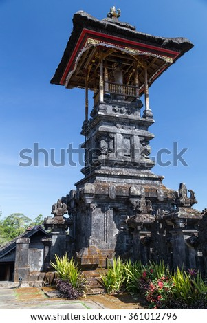 Ceremonial towers at Pura Besakih Balinese temple - stock photo