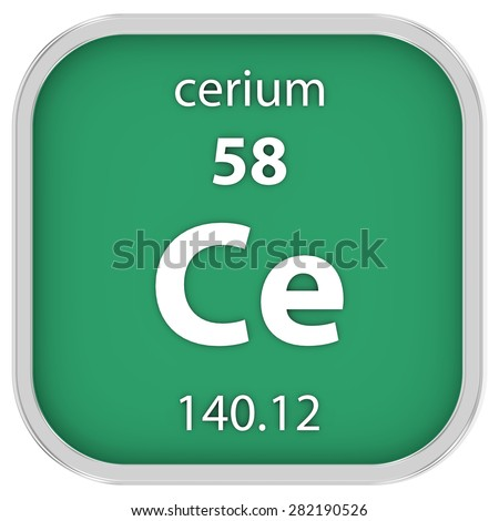 Cerium material on the periodic table. Part of a series. - stock photo