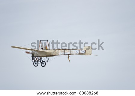 "CERNY LA FERTE ALAIS, FRANCE - JUNE 12: Bleriot flying at Aerial Meeting ""The propeller era"" in Cerny La Ferté Alais, France on June 12, 2011"