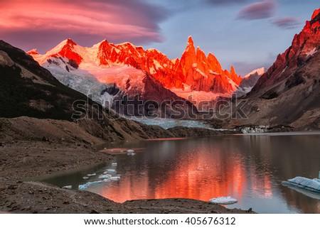 Cerro Torre peak, Los Glaciares National Park, El Chalten, Patagonia, Argentina - stock photo
