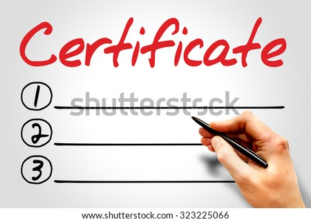 CERTIFICATE blank list, education concept - stock photo
