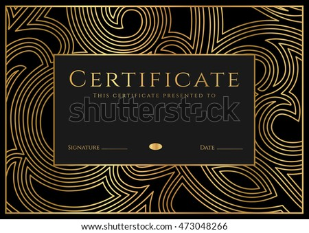 Certificate, Diploma of completion (design template, background) with border, frame. Black, gold Certificate of Achievement / education, coupon, award, winner