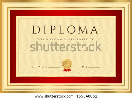 Certificate, Diploma of completion (design template, background) with border, gold frame. Red Certificate of Achievement, Certificate of education, coupon, awards, winner - stock photo