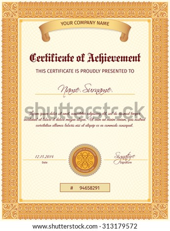 Certificate document of achievement vertical template with seal ribbon and elegant ornament  illustration