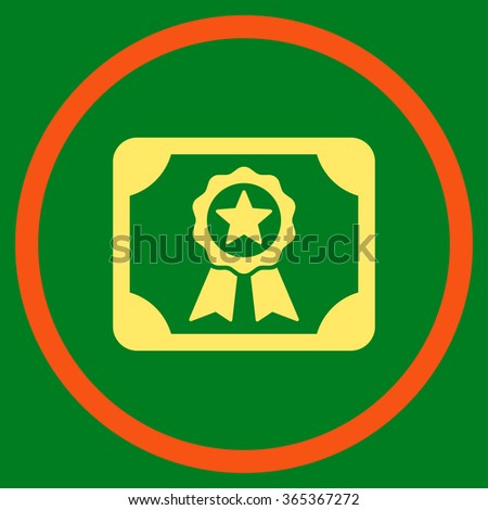 Certificate glyph icon. Style is bicolor flat circled symbol, orange and yellow colors, rounded angles, green background. - stock photo