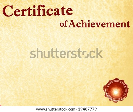 certificate of achievement with a wax seal on it
