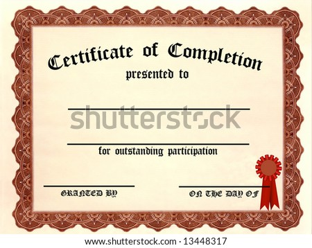 Certificate of Completion - fill in the blanks - stock photo