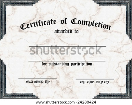 Certificate of Completion - Textured with Marble background - customizable - stock photo