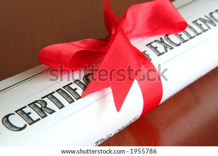 certificate of excellence - stock photo