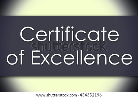Certificate of Excellence - business concept with text - horizontal image