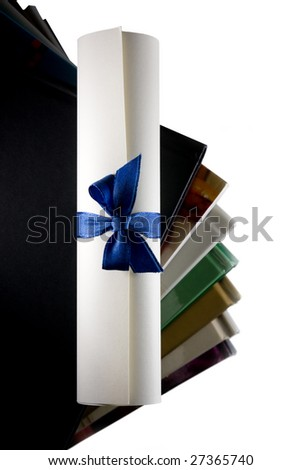 Certificate scroll and books. Concept of education stairway to success. - stock photo