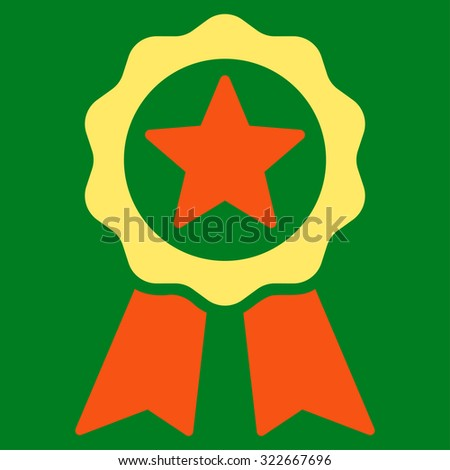 Certification Seal glyph icon. Style is bicolor flat symbol, orange and yellow colors, rounded angles, green background.