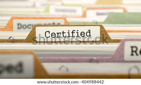 Certified Concept. Colored Document Folders Sorted for Catalog. Closeup View. Selective Focus. 3D Render. - stock photo