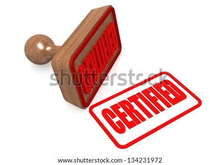 Certified word on wooden stamp - stock photo