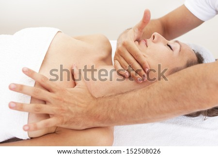 cervical manipulation - stock photo