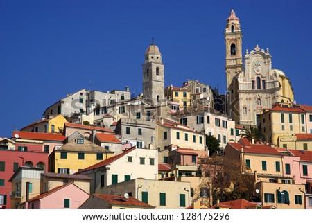 Cervo - medieval village in Liguria region of Italy - stock photo