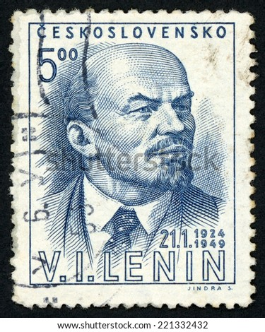 CESKOSLOVENSKO - CIRCA 1949: post stamp printed in Czech republic (Czechoslovakia) shows image of V. I. Lenin; 25th anniversary of death (1. 21. 1924); Scott catalog 371 A139, 5k deep blue, circa 1949 - stock photo
