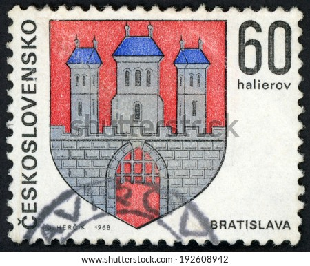 CESKOSLOVENSKO - CIRCA 1968: stamp printed in Czechoslovakia (Czech; Slovakia) shows coat of arms of regional capitals; Bratislava; 3 towers on castle; Scott 1570 A590 60h red blue gray, circa 1968 - stock photo