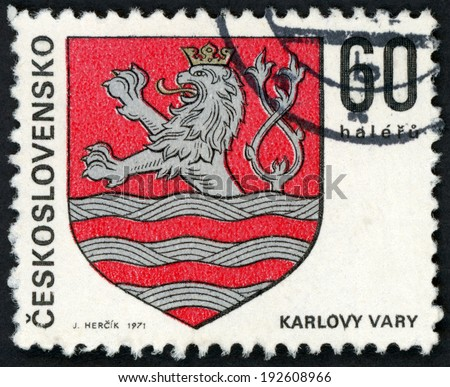 CESKOSLOVENSKO - CIRCA 1971: stamp printed in Czechoslovakia (Czech; Slovakia) shows coat of arms of regional capitals; Karlovy Vary; two tailed lion in water; Scott 1747 A590 60h red gray, circa 1971 - stock photo