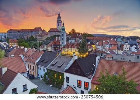 Cesky Kromlov, Czech Republic. Image of Cesky Krumlov, located in southern Czech Republic during sunset. - stock photo