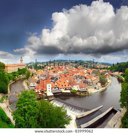 Cesky Krumlov (Czech Krumlov) - historical town, Czech republic, UNESCO - stock photo