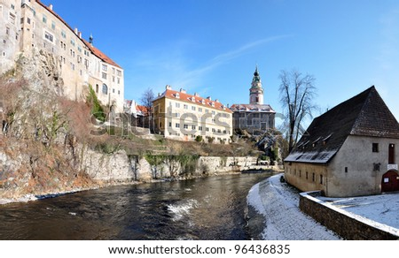 CESKY KRUMLOV, CZECH REPUBLIC - January 20: View of Tower of the Cesky Krumlov Castle, Czech Republic. Cesky Krumlov is a UNESCO World Heritage Site since 1992. - stock photo