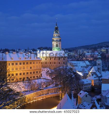 Cesky Krumlov in winter, Czech Republic - stock photo