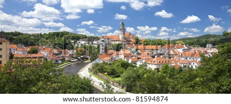 Cesky Krumlov the castle in the summer panoramic view - stock photo