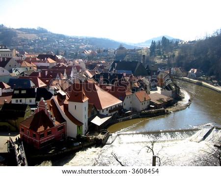 Cesky Krumlov with the Vltava river, South Bohemian, Czech Republic - stock photo