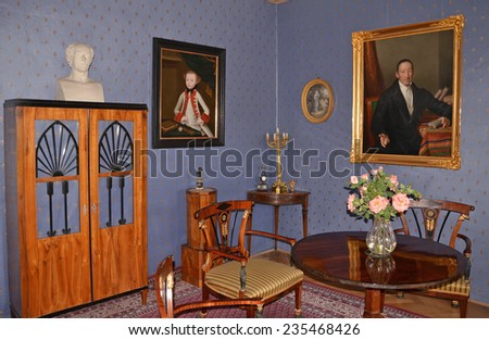 CESKY STERNBERK - MAY 24: Cesky Sternberk castle interior. May 24, 2014 - stock photo